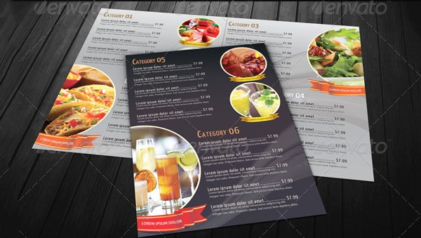 Bi Fold Menu Template Inspirational Food Menu Template 36 Free Word Pdf Psd Eps