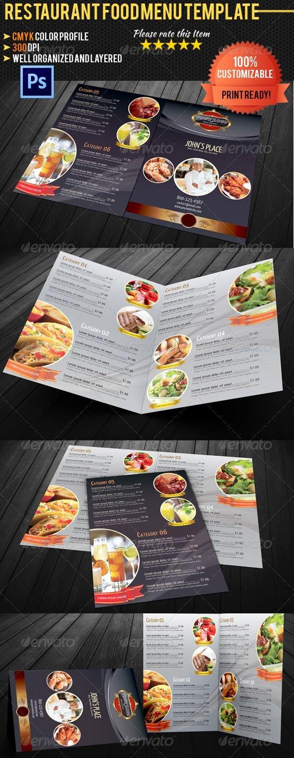 Bi Fold Menu Template Lovely Bi Fold Restaurant Food Menu Template Food Menus Print