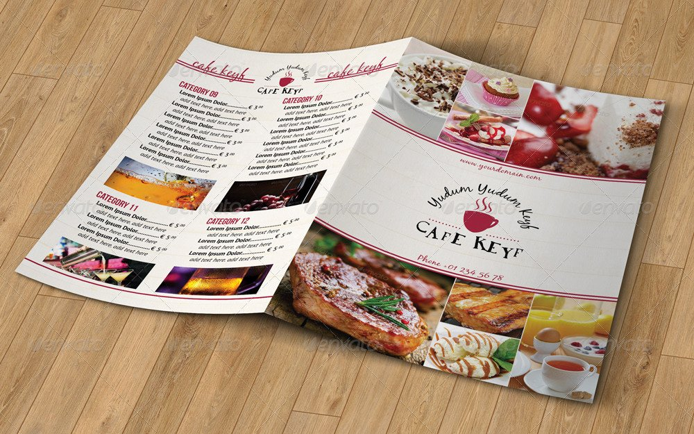 Bi Fold Menu Template New Bi Fold A4 Food Menu Template by Erseldondar