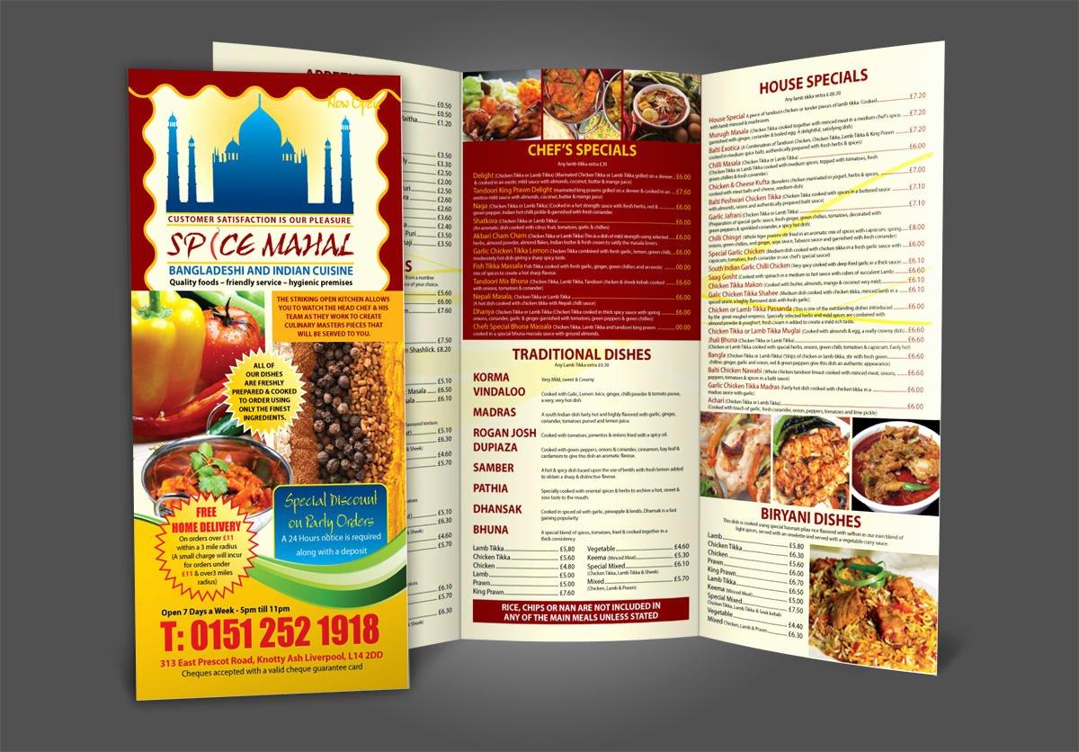Bi Fold Menu Template New Restaurant Menu Design A4 Bi Fold Tri Fold by Fk