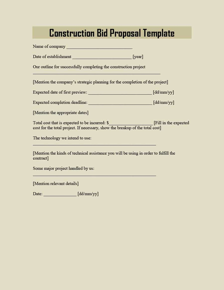 Bid Template for Contractors Awesome 31 Construction Proposal Template & Construction Bid forms