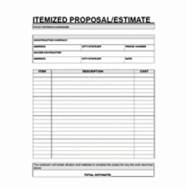 Bid Template for Contractors Awesome Free Printable Contractor Proposal forms