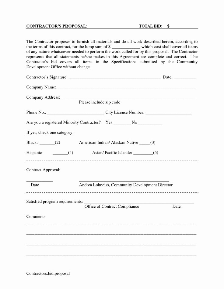 Bid Template for Contractors Best Of Printable Blank Bid Proposal forms