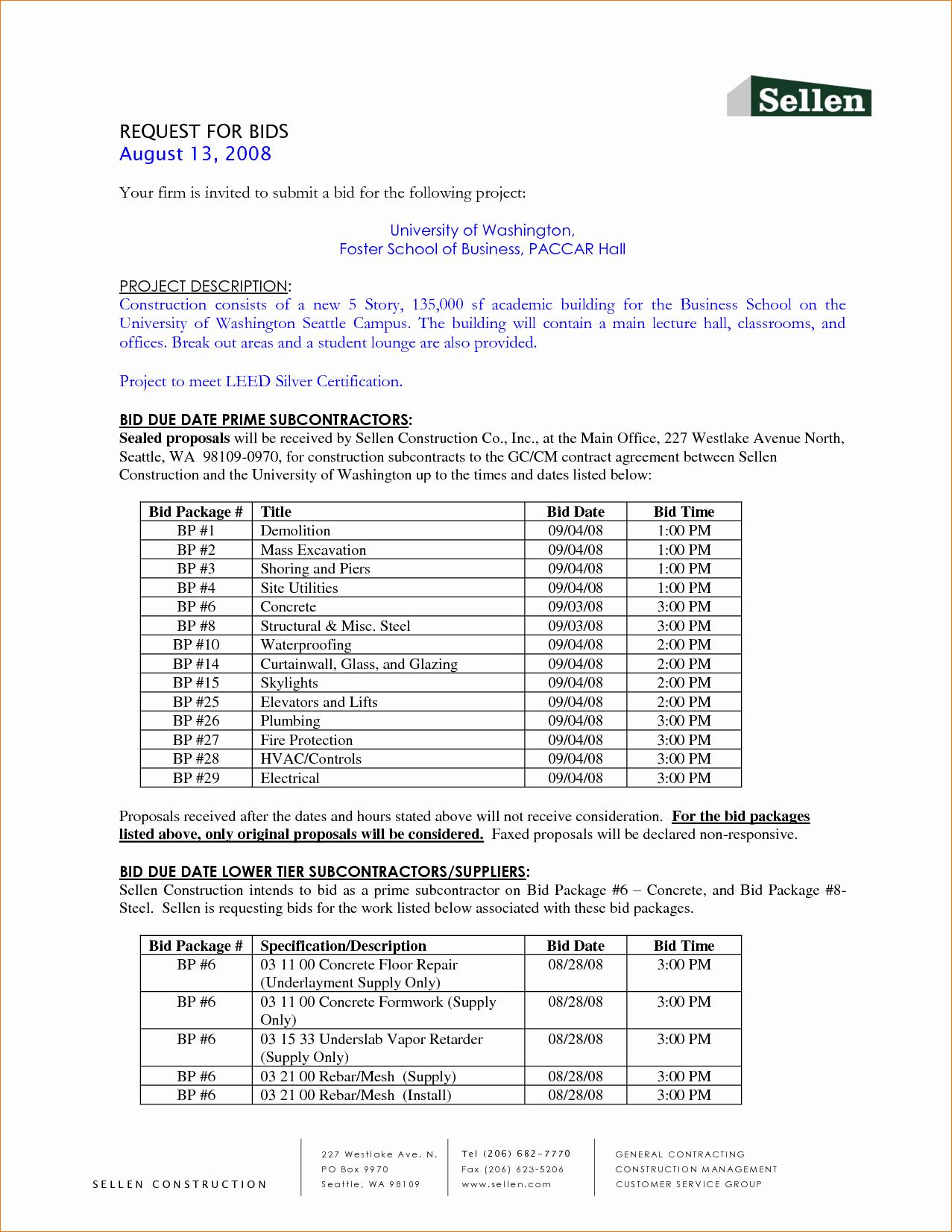 Bid Template for Contractors Elegant 6 Bid Template