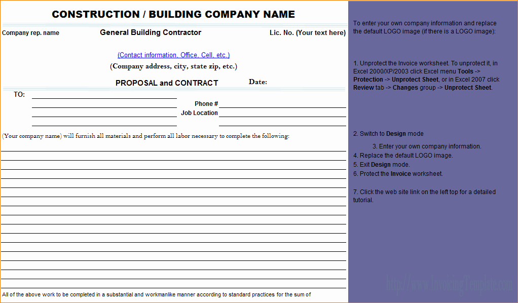 Bid Template for Contractors Elegant 7 Construction Proposal Template