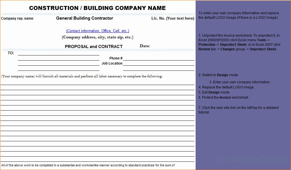 Bid Template for Contractors Elegant 7 Construction Proposal Template