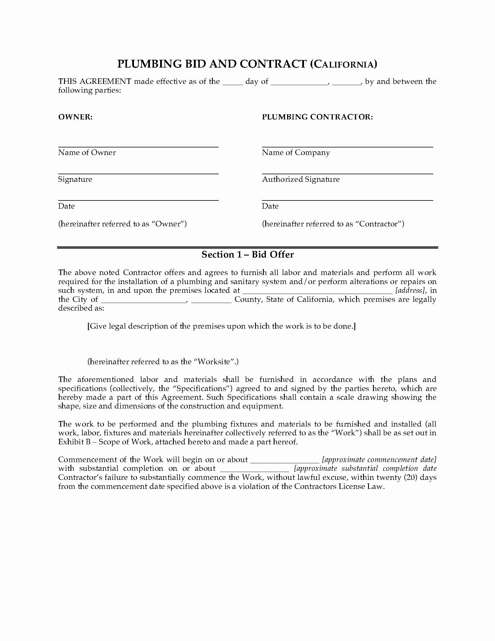 Bid Template for Contractors Elegant California Plumbing Bid and Contract