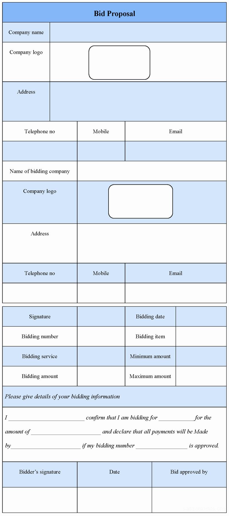 Bid Template for Contractors Fresh Bid Proposal form Example Mughals