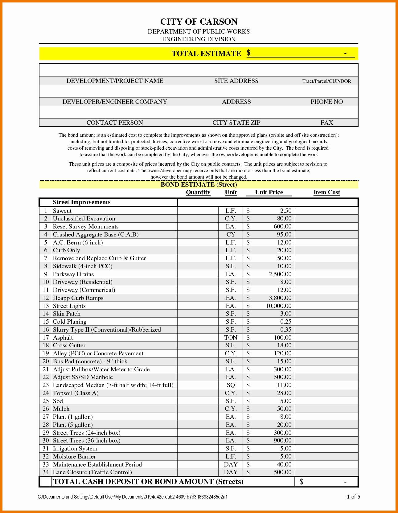 Bid Template for Contractors Fresh Professional Estimate Template Portablegasgrillweber
