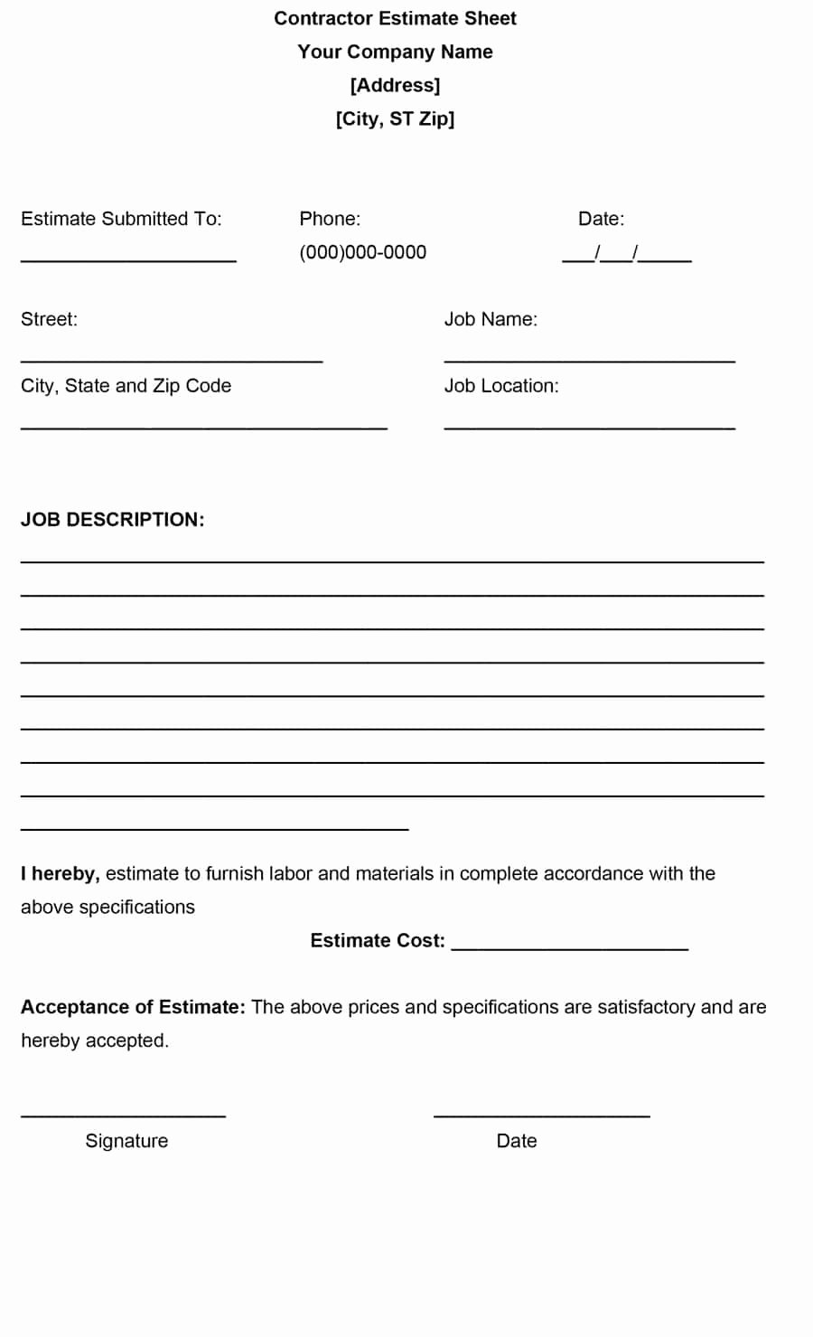 Bid Template for Contractors Inspirational 44 Free Estimate Template forms [construction Repair