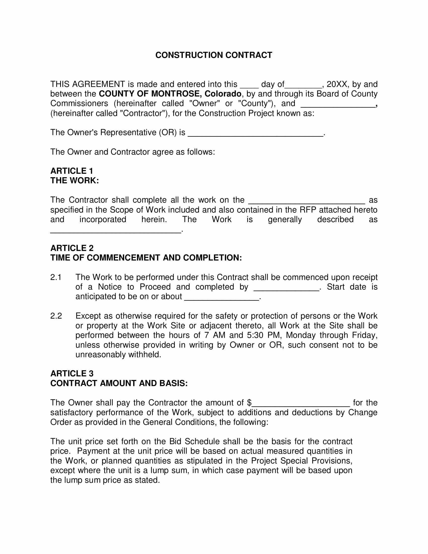 Bid Template for Contractors Inspirational 8 Construction forms Bid form Agreement form Release