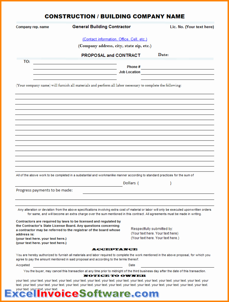 Bid Template for Contractors Inspirational Construction Contract Template Resume Trakore Document