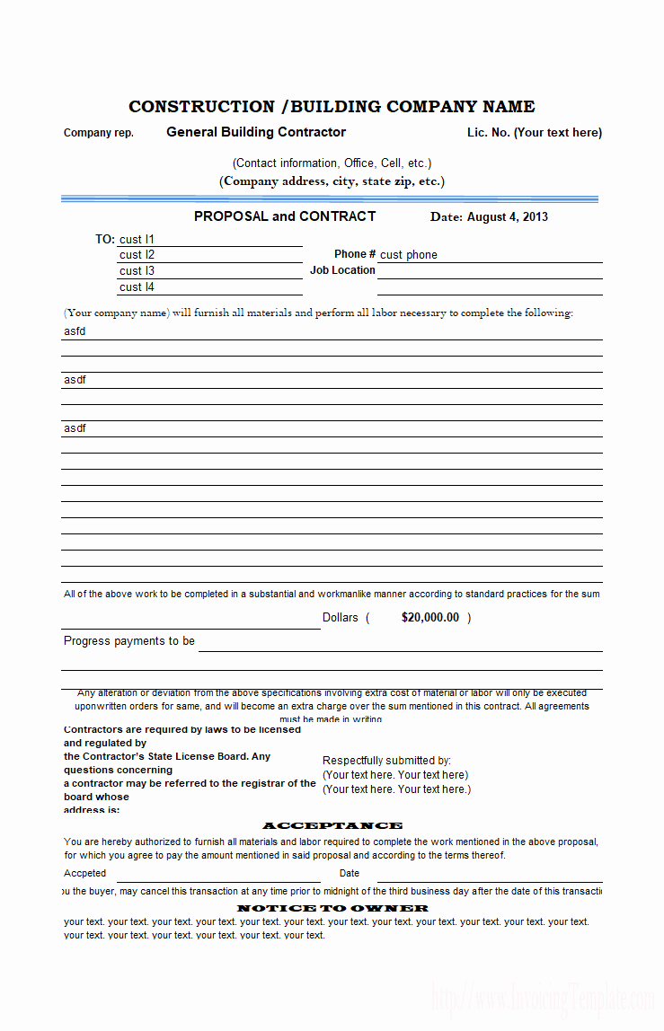 Bid Template for Contractors Inspirational Construction Proposal Template