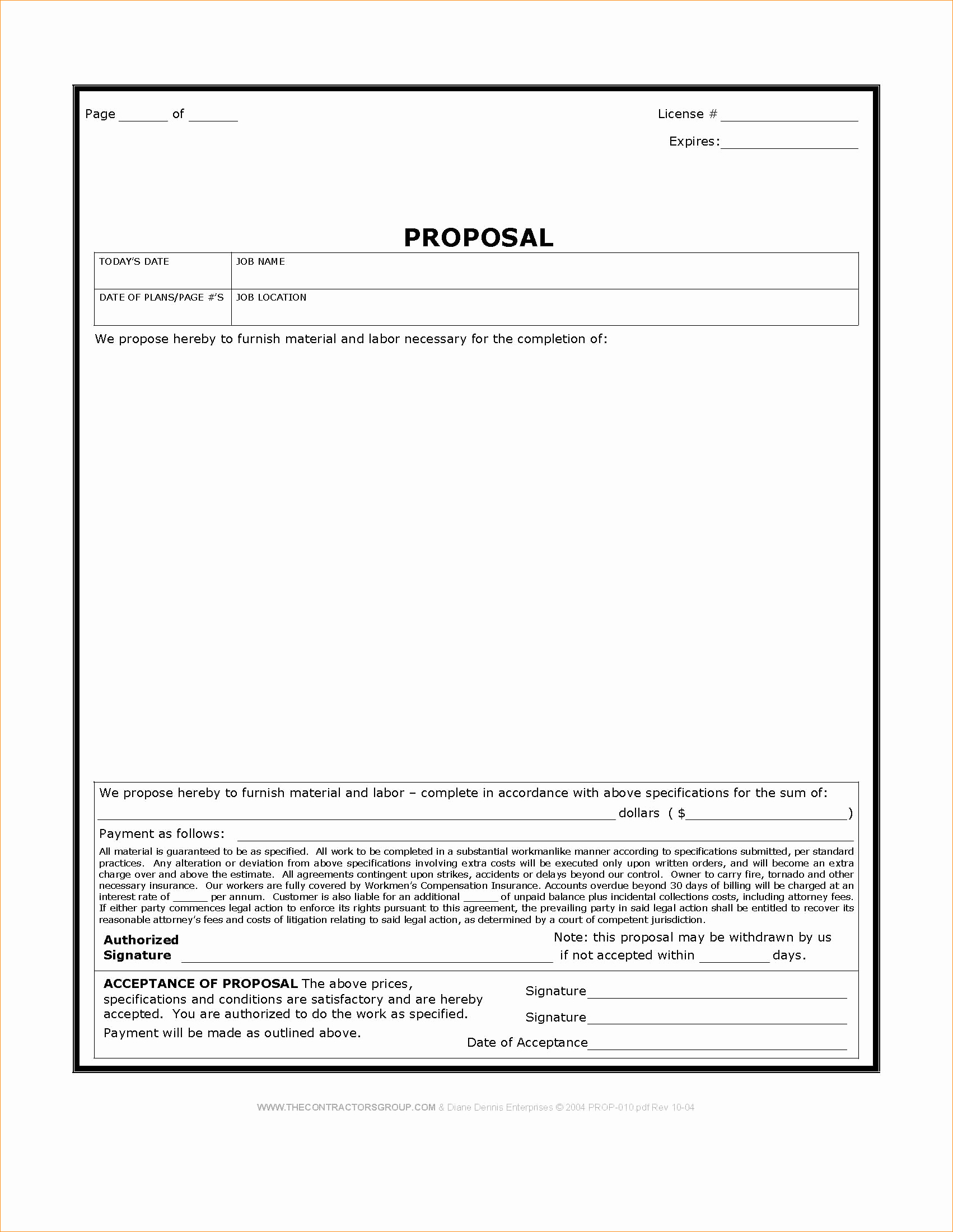 Bid Template for Contractors Inspirational Free Construction Proposal Template Business Proposal