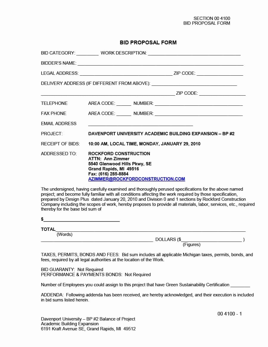 Bid Template for Contractors Luxury 31 Construction Proposal Template & Construction Bid forms