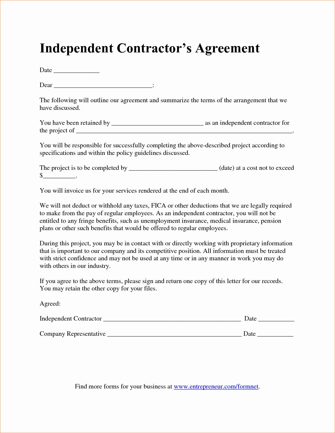 Bid Template for Contractors Luxury 7 Contractor Agreement Templatereport Template Document