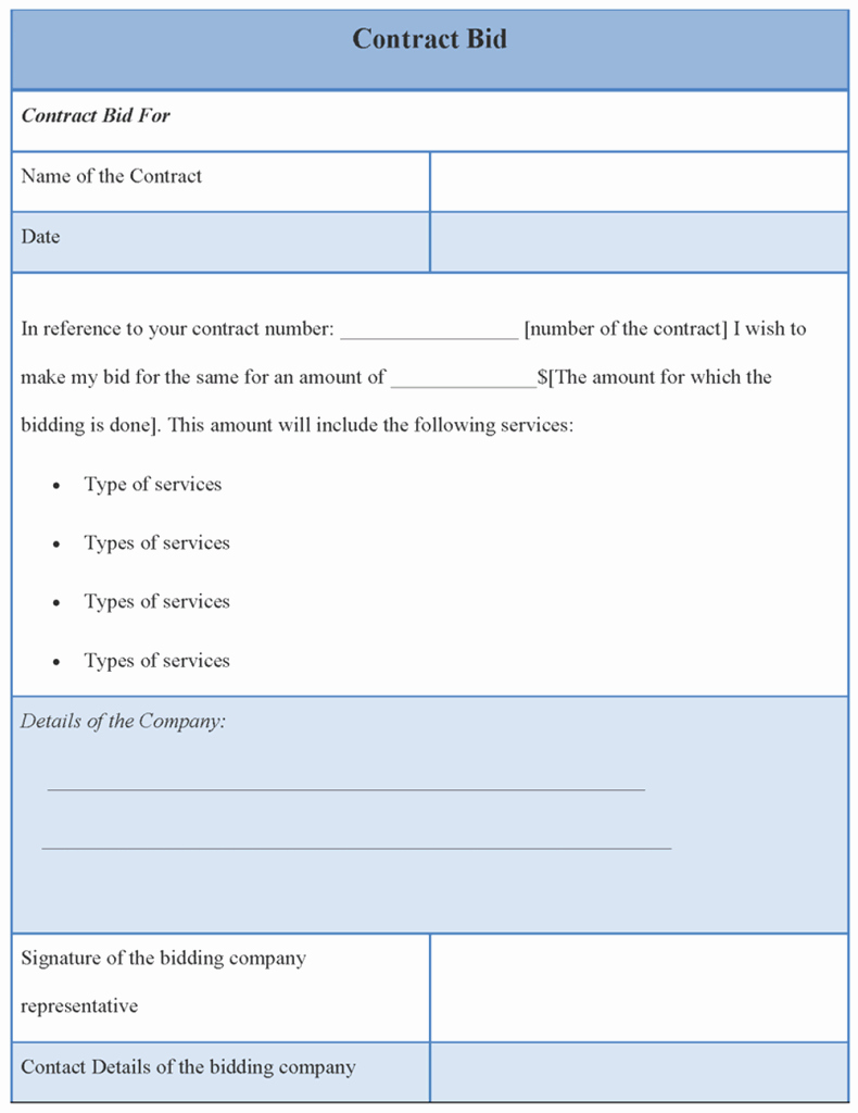 Bid Template for Contractors Luxury Contract Template for Bid Example Of Contract Bid