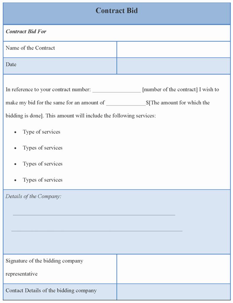 Bid Template for Contractors Luxury Contract Template for Bid Example Of Contract Bid