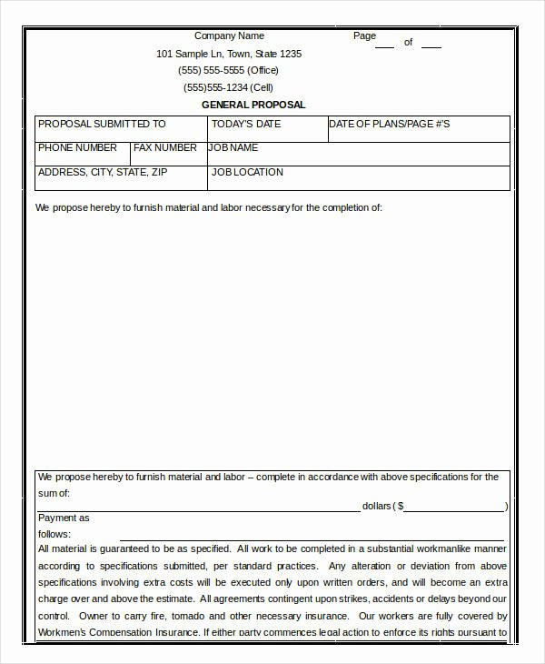 Bid Template for Contractors New 15 Contractor Proposal Templates Free Word Pdf format