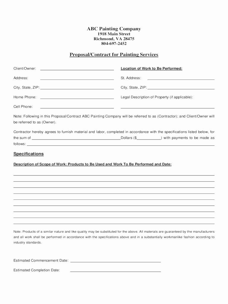 Bid Template for Contractors New Blank Contract Example Mughals