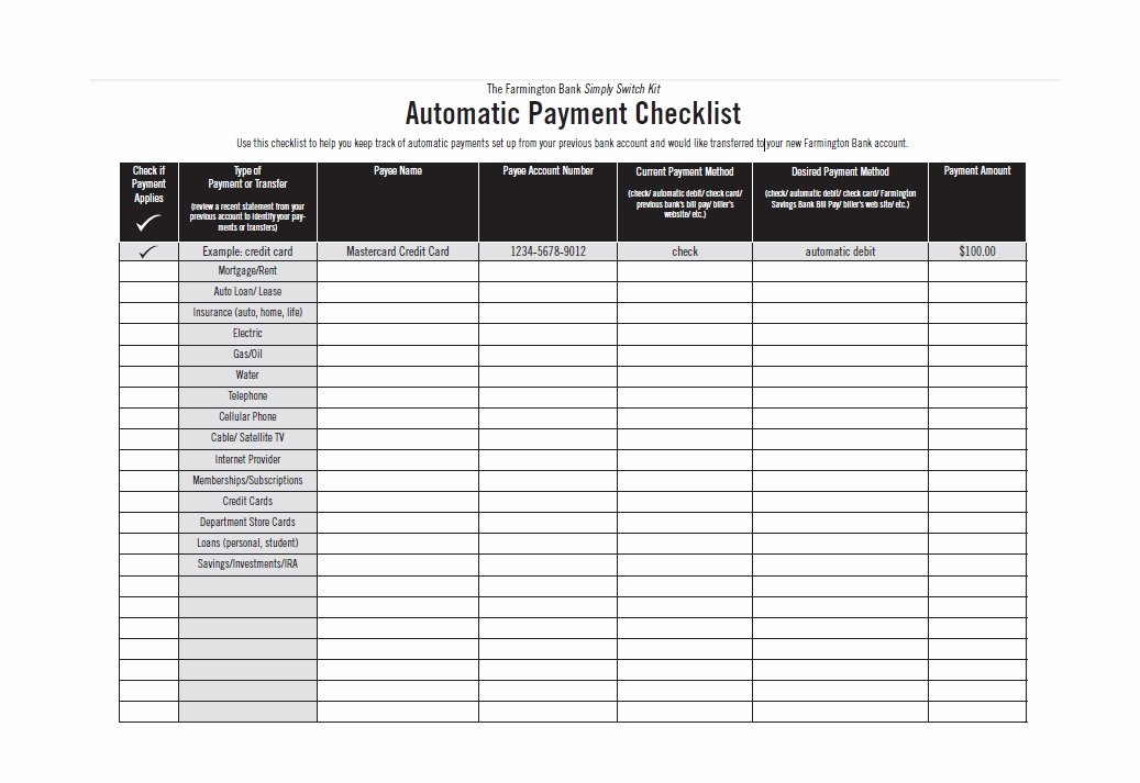 Bill Payment Template Free Awesome 32 Free Bill Pay Checklists & Bill Calendars Pdf Word