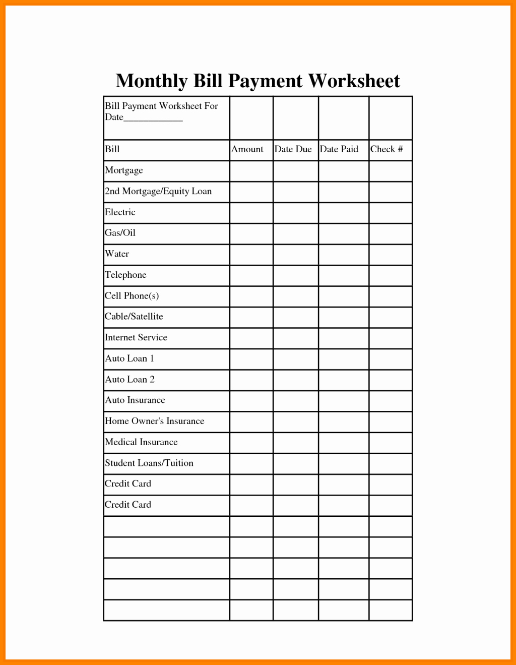 Bill Payment Template Free Awesome Remarkable Monthly Bill organizer and Payment Schedule