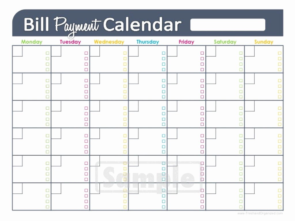 Bill Payment Template Free Beautiful Bill Paying Calendar Template