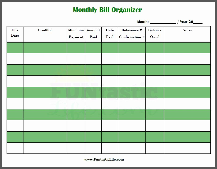 Bill Payment Template Free Beautiful Excel Monthly Bill Payment Template Monthly Bill