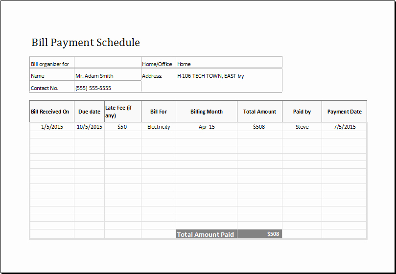 Bill Payment Template Free Best Of Payment Schedule Template