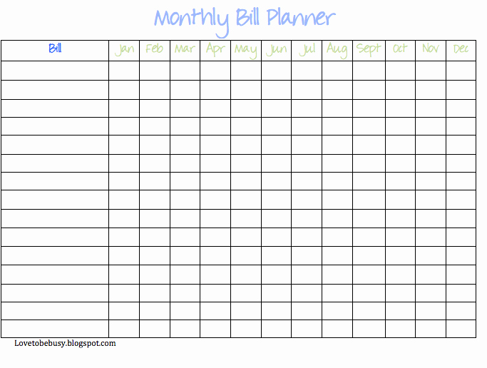 Bill Payment Template Free Fresh 7 Best Of Bill Chart Template Printable Monthly