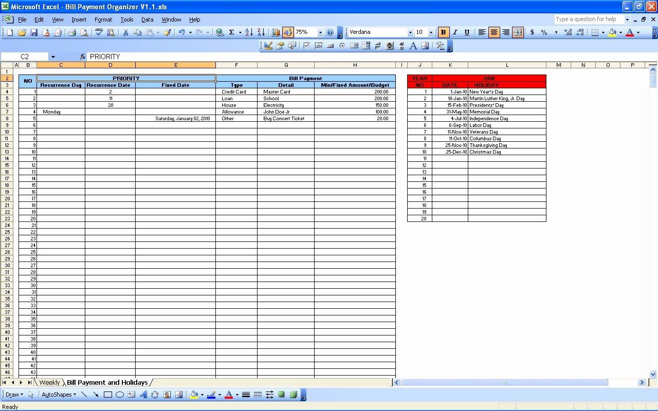 Bill Payment Template Free Fresh Bill Payment Calendar