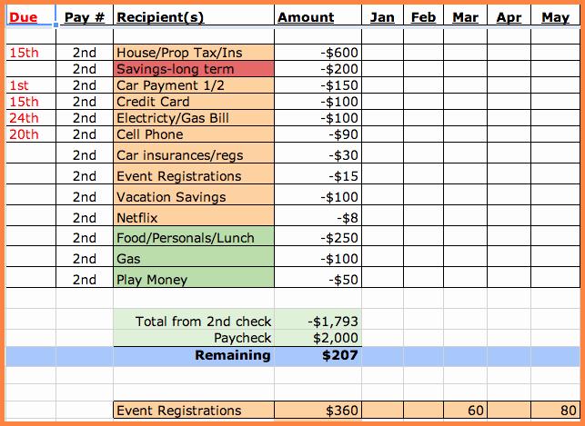 Bill Payment Template Free Lovely 8 Bill Spreadsheet Template