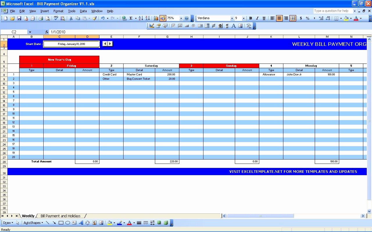 Bill Payment Template Free Luxury Bill Payment Calendar