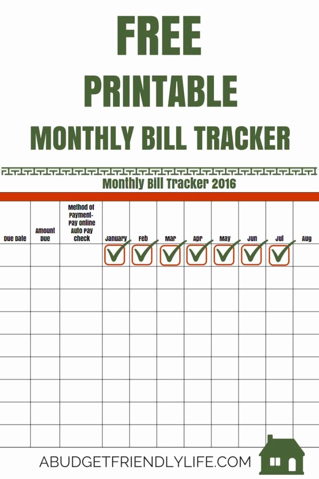 Bill Payment Template Free Luxury Free Printable Monthly Bill Tracker 2016