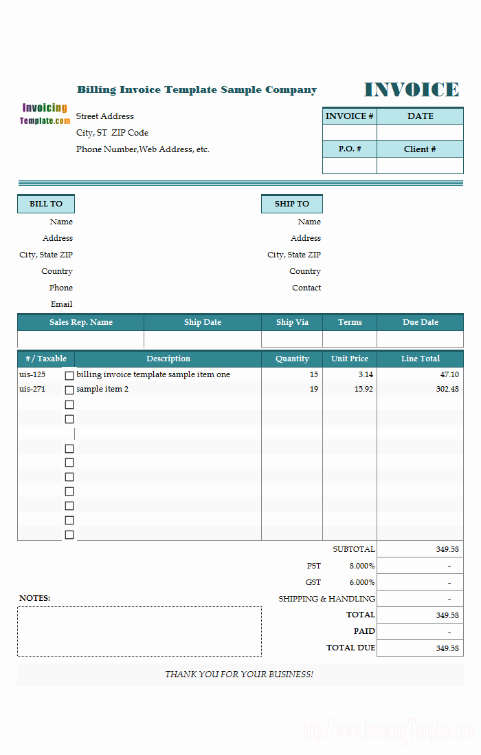 Billing Invoice Template Free New Free Invoice Templates for Excel