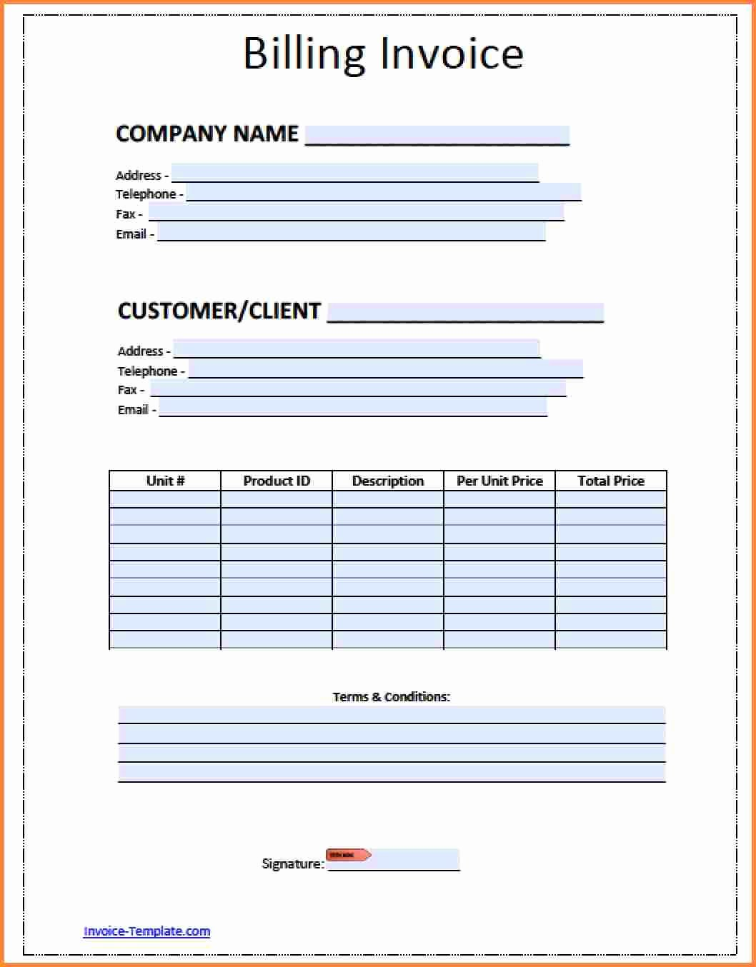 Billing Invoice Template Word Inspirational 9 format Of Invoice Bill In Word