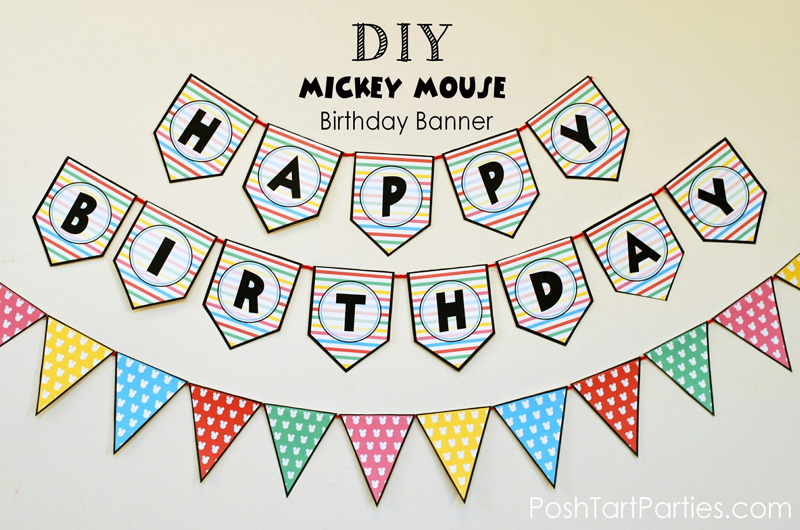 Birthday Banner Template Free Best Of A Mickey and Minnie Mouse Party – Free Printable Happy