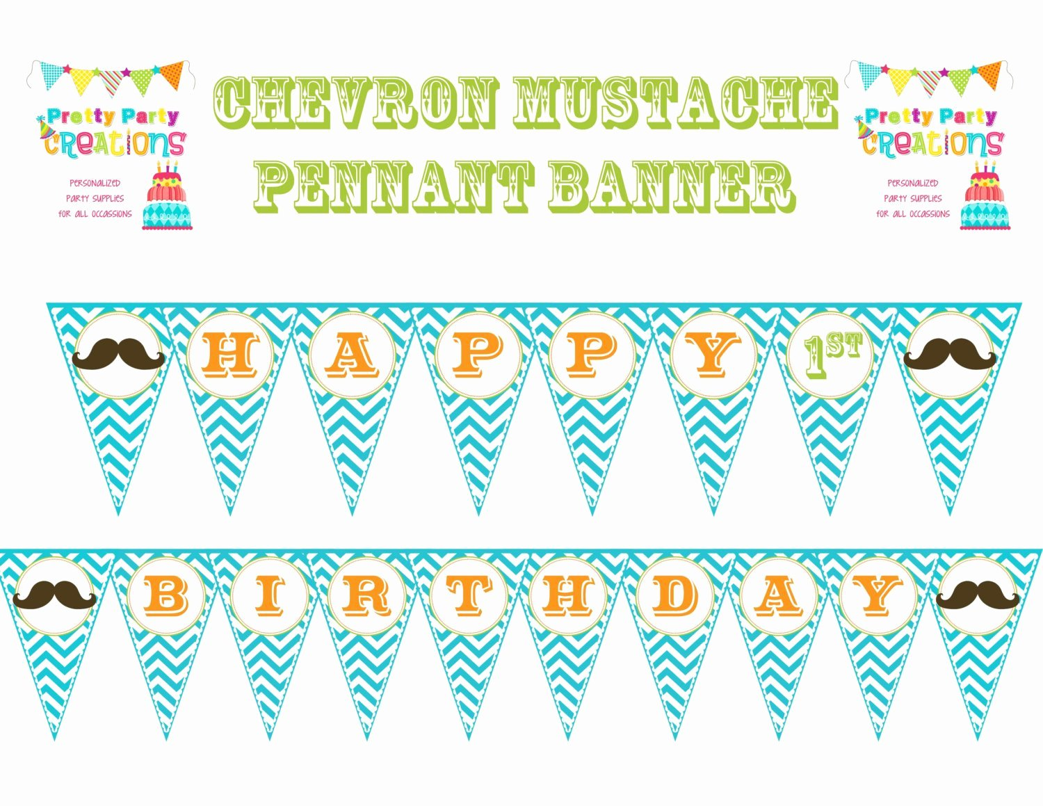 Birthday Banner Template Free New Chevron Mustache Bash Happy Birthday Banner Pennant You