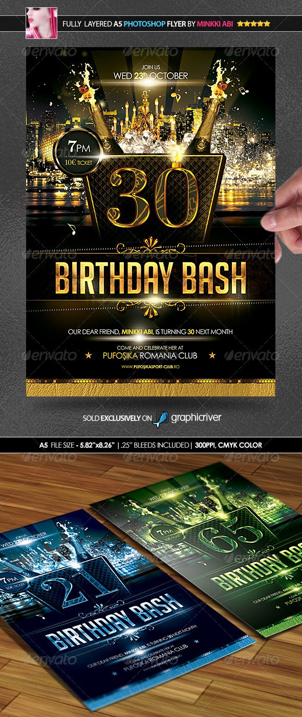 Birthday Bash Flyer Template Awesome Birthday Bash Poster Flyer