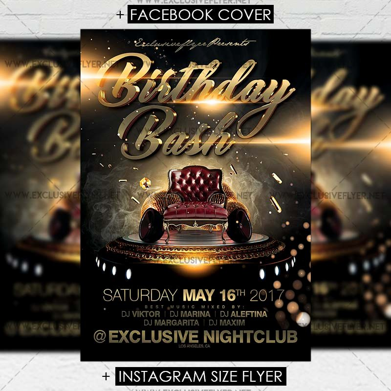 Birthday Bash Flyer Template Beautiful Birthday Bash – Premium A5 Flyer Template