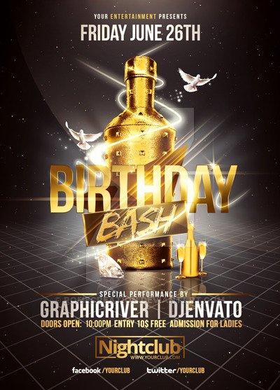Birthday Bash Flyer Template Elegant Gold Birthday Bash
