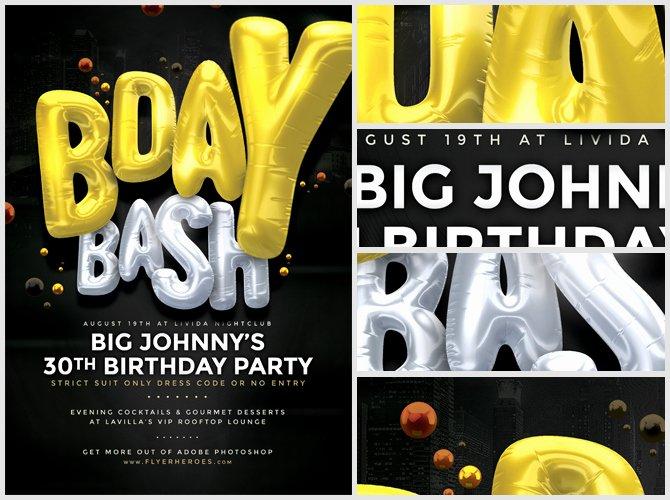 Birthday Bash Flyer Template Lovely Bday Bash Flyer Template 3 Flyerheroes