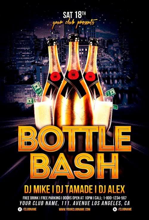 Birthday Bash Flyer Template Luxury Bottle Bash Flyer Template for Shop