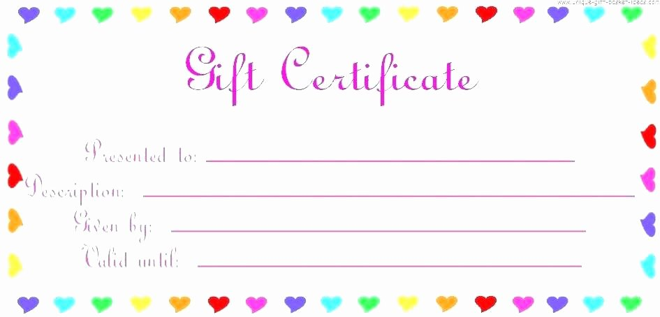 Birthday Gift Certificate Template Free Beautiful Birthday Gift Certificate Template Free Printable Blank