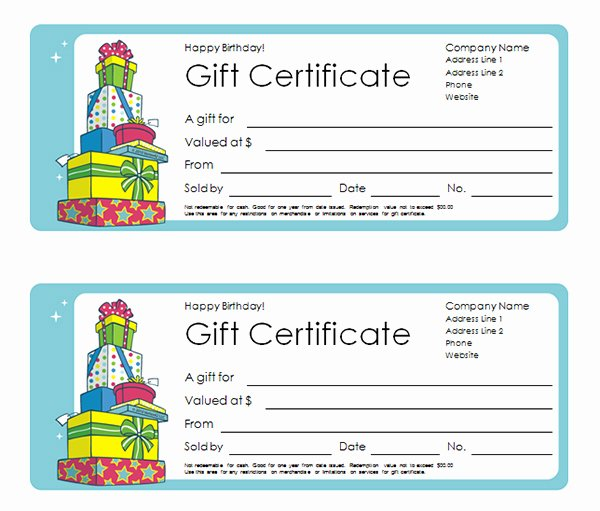 Birthday Gift Certificate Template Free Beautiful Printable Gift Certificate Templates