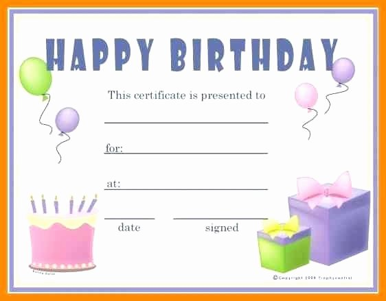 Birthday Gift Certificate Template Free Beautiful Template Birthday Gift Template