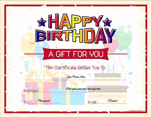 Birthday Gift Certificate Template Free Elegant Birthday Gift Certificate Sample Templates for Word