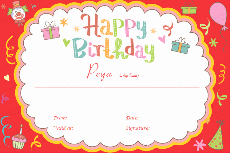 Birthday Gift Certificate Template Free Elegant Gift Certificate Templates