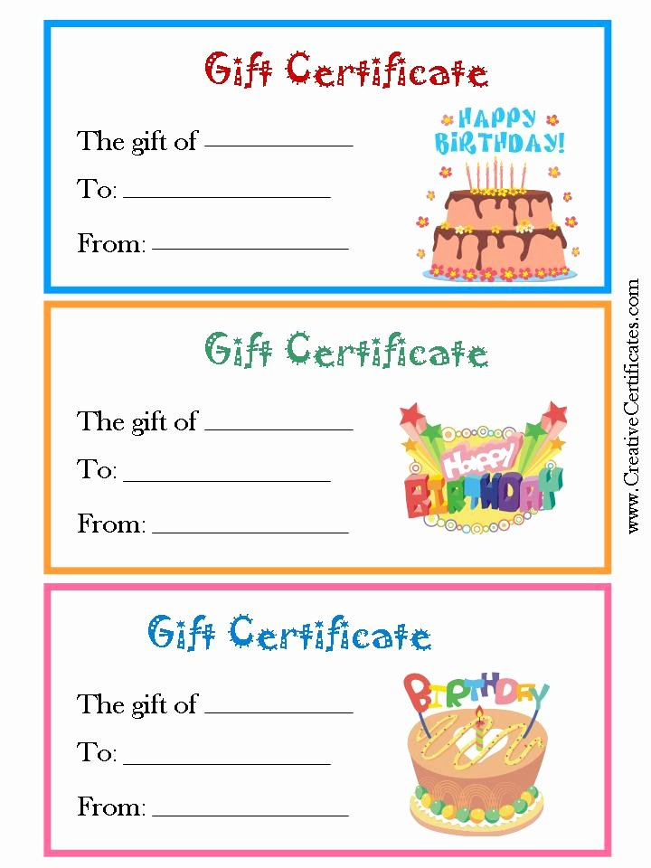 Birthday Gift Certificate Template Free Fresh 5 Best Of Free Birthday Printable Gift Certificates