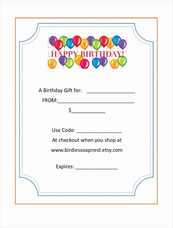 Birthday Gift Certificate Template Free Fresh Birthday Gift Certificate Templates 16 Free Word Pdf